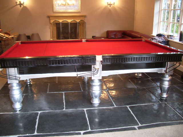 Red Pool Table Silver Leafed
